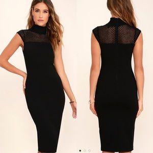 Lulu's Detail Therapy Black bodycon midi dress